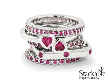 Picture for category July Ruby Silver Stackable Rings
