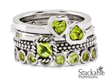 Picture for category August Peridot Silver Stackable Rings