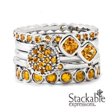 Picture for category November Citrine Silver Stackable Rings