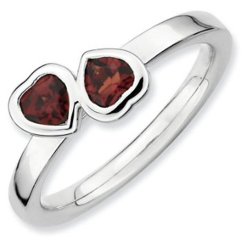 Picture of Silver Ring 2 Heart Garnet stones
