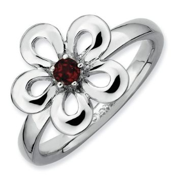 Picture of Silver Flower Ring Garnet stones