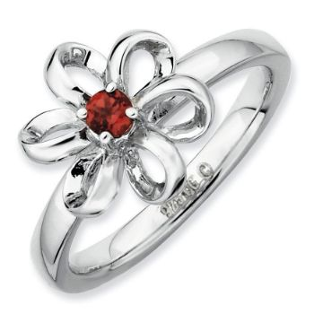 Picture of Silver Flower Ring Garnet stone