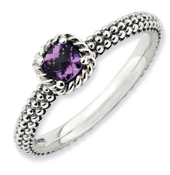 Picture of Silver Antiqued Ring with Checker-Cut Amethyst Stone