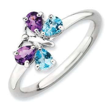 Picture of Silver Butterfly Ring Pear Shape Blue Topaz & Amethyst