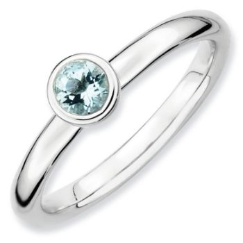Picture of Silver Ring 4 mm Low Set Round Aquamarine stone