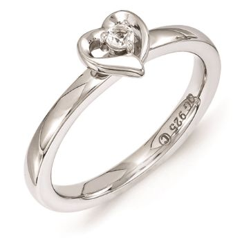 Picture of Silver Heart Ring White Topaz stone