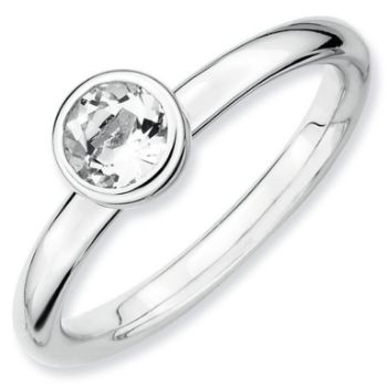 Picture of Silver Ring 5 mm Low Set White Topaz stone