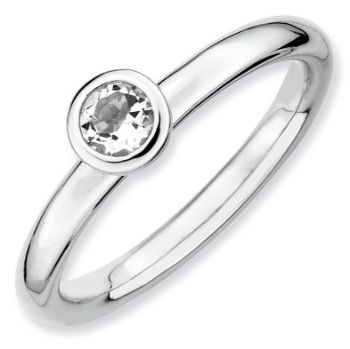 Picture of Silver Ring 4 mm Low High Set White Topaz stone