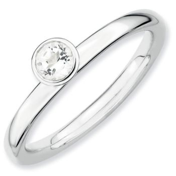 Picture of Silver Ring 4 mm High Set White Topaz stone