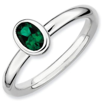 Picture of Silver Ring 1 Oval Created Emerald stones
