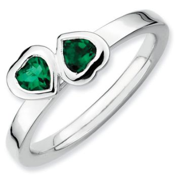 Picture of Silver Ring 2 Heart Created Emerald stones