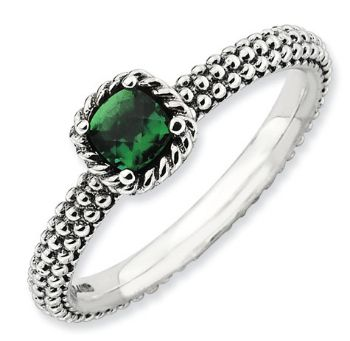 Picture of Antiqued Silver Ring Checker-Cut Created Emerald stones