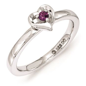 Picture of Silver Heart Ring Rhodolite Garnet Stone