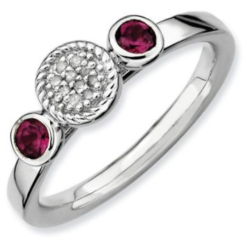 Picture of Silver Ring 2 Round Rhodolite Garnet & Diamond Accent Stones