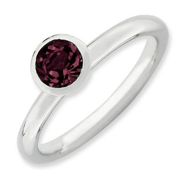 Picture of Silver Ring 1 Round Swarovski Rhodolite stone