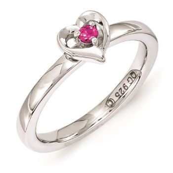 Picture of Silver Heart Ring Created Ruby Stone