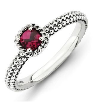 Picture of Antiqued Silver Ring Checker-Cut Created Ruby Stone