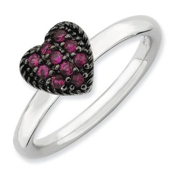 Picture of Silver Heart Ring Round Created Ruby Stones