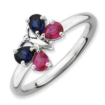 Picture of Silver Butterfly Ring Created Sapphire & Ruby Stones