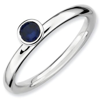Picture of Silver Ring 4 mm High Set Round Created Sapphire Stone