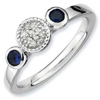 Picture of Silver Ring 2 Round Created Sapphire Stones
