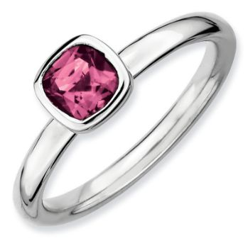 Picture of Silver Ring 1 Large Cushion Cut Pink Tourmaline stone