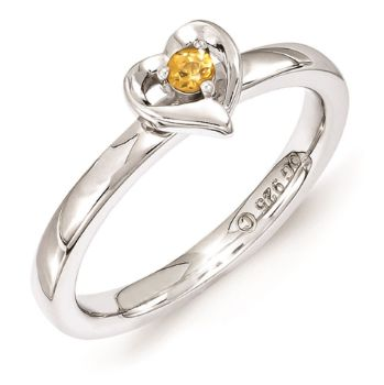 Picture of Silver Heart Ring Citrine