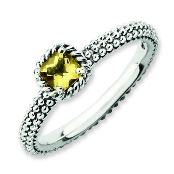 Picture of Silver Checker-cut Citrine Antiqued Ring Citrine Stone