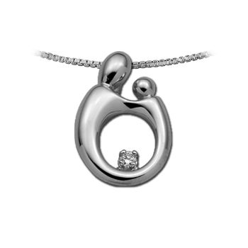 Picture of Large Mother Child Diamond Pendant 14K White Gold