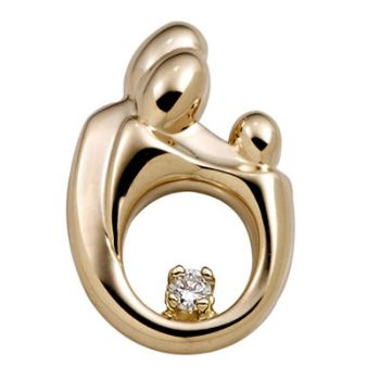 Picture of Large Family Diamond Pendant 14K Yellow Gold