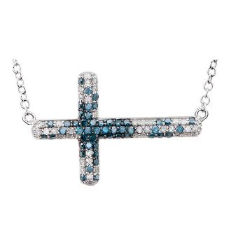 Picture of Blue & White Diamond Sideways Cross Necklace
