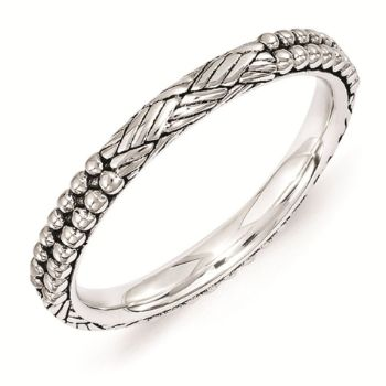 Picture of Silver Stackable Antiqued Patterned Ring