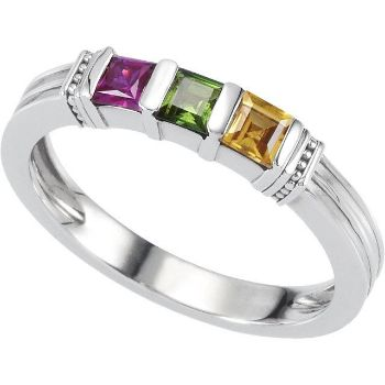 Picture of Silver 1 to 3 Square Stones Stackable Mother's Ring