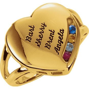 heart engraved moms ring 4 stones
