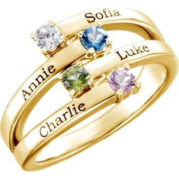 Picture of Gold 1 to 4 Stones/Names Engravable Mother Ring