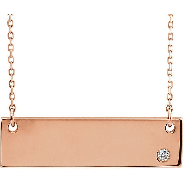"""Picture of 14K Gold Engravable Bar 18"""" Necklace"""