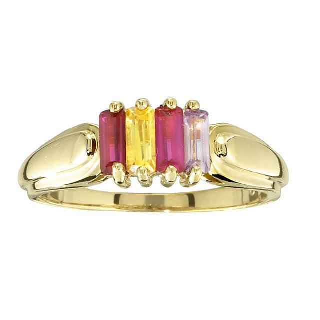Picture of Gold 2 to 6 Baguette Stones Mother's Ring