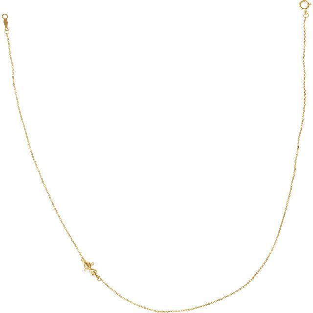Picture of 14K Gold Infinity-Inspired Off-Center Sideways Cross Necklace