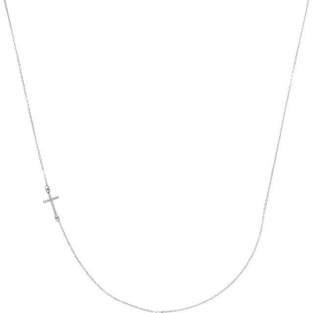 """Picture of 14K Gold .05 CTW Diamond Off-Center Sideways Cross 16"""" Necklace"""