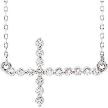 Picture of 14K Gold 1/3 CTW Diamond Sideways Cross Necklace