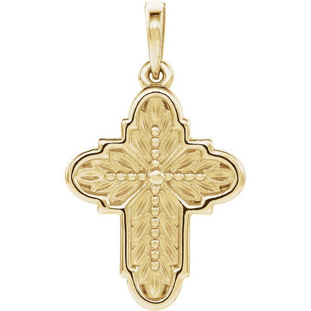 Picture of 14K Gold Ornate Leaf Cross Pendant