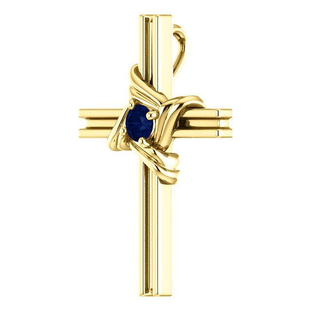 Picture of 14K Gold  Blue Sapphire Cross Pendant