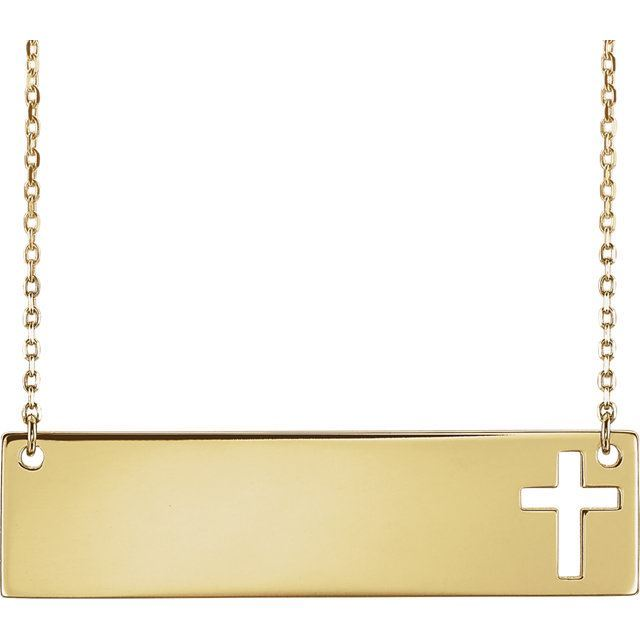 "Picture of 14K Gold Engravable Cross 16-18"" Necklace"