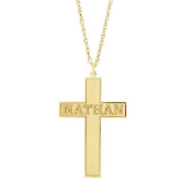 Picture of 14K Gold Personalized Cross Necklace