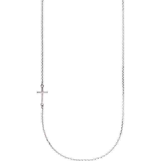 """Picture of 14K Gold Off-Center Sideways Cross 16"""" Necklace"""