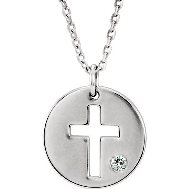 Picture of 14K Gold Pierced Cross Disc Pendant Mounting