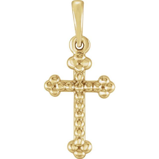 Picture of 14K Gold Beaded Cross Pendant
