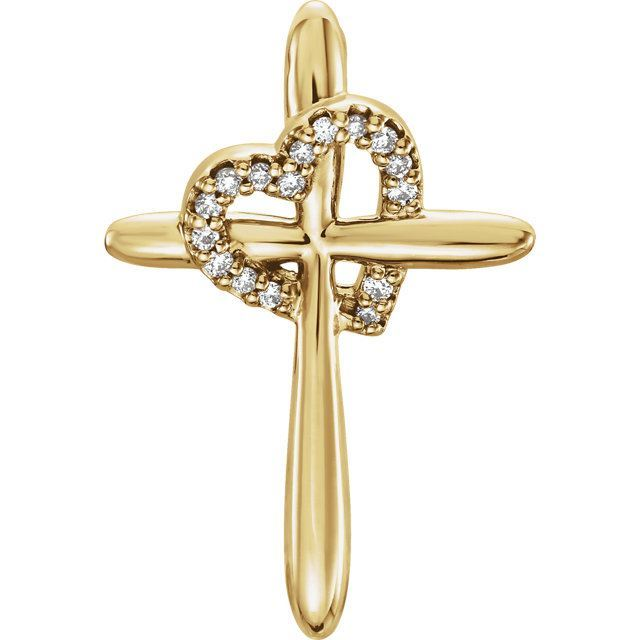 Picture of 14K Gold .04 CTW Diamond Cross with Heart Pendant