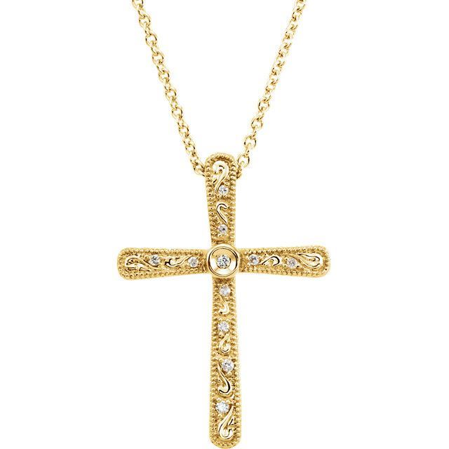 """Picture of 14K Gold .05 CTW Diamond Cross 18"""" Necklace"""