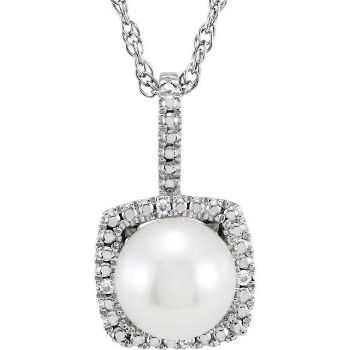 """Picture of Sterling Silver 7 mm Freshwater Cultured Pearl & .015 CTW Diamond 18"""" Necklace"""